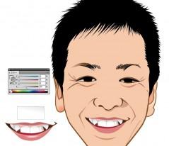 7.唇と歯に色を加えます。 唇の色にも少し肌の色を混ぜると自然な感じになります。 歯もグラデーションツールを使って描きます。 歯の輪郭の色はK40くらいがいいでしょう。
