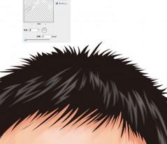 12.フィルターのぼかし移動で髪の毛の光沢をぼかします。 角度はつけずに、距離も4ピクセル程度にします。 同様に髪の毛の生え際もぼかします。 この作業で顔部分の制作は完成です。
