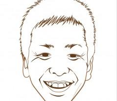 3.同様にペンツールを使い目、鼻、口など各パーツを描いていきます。 特徴的なシワがあればこの時点で描きこんでおくといいでしょう。